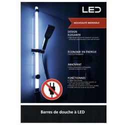 Barre de douche LED 94cm,...