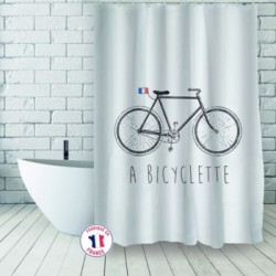 Shower curtains on a bicycle