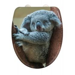 Salle d'ô - Abattant WC Koala fixation inox, antibactérien, ralentisseur - wenko